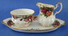 Royal Albert Old Country Roses Creamer Sugar Set with Regal Tray