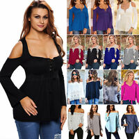 Plus Size Womens Sexy Off Shoulder Casual Long Sleeve Slim T-Shirt Tops Blouse