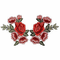 Chic Embroidery Rose Flower Sew On Patch Badge Hat Jeans Dress Applique Craft 2x