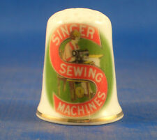 Birchcroft China Thimble -- Vintage Singer Sewing Logo -- Free Dome Gift Box