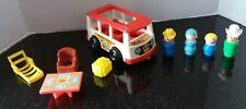Vintage Fisher Price Little People 1969 #141 Mini Bus, Figures & Accessories