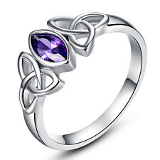 Women's Fashion Marquise Cut Celtic Knot Amethyst Silver Ring Size 6 7 8 9 10