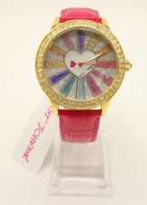 NEW BETSEY JOHNSON Rainbow Heart Watch Pink Leather Strap BJ00131-113 $69