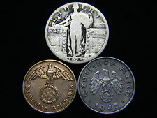WW2 German Coins 1925-1930 Standing Liberty Silver Quarter US German Lot