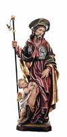 Statue San Rocco avec Enfant Bois - Sculpture sur Bois St. Rock With Child