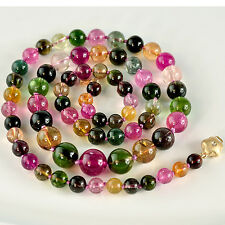 6.2mm-10.7mm Tourmaline Smooth Round Globe Bead Necklace 14K Diamond clasp