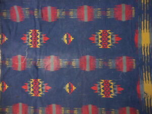 "Antique Trade Doll Blanket Blue Red Multi Color apx 27x19"" Used Loved Fabric"