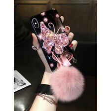 Girl Bling Diamond Butterfly Plush Case for iPhone 12 Mini 11 Pro XS MAX XR 7 8