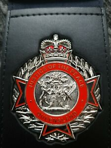 Queensland JP Justice of the Peace Badge and leather wallet