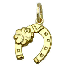 375 ECHT GOLD *** Anhänger Hufeisen mit Kleeblatt 12 mm Amulett Glücksanhänger