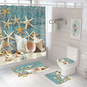 Conch Starfish Shower Curtain Set Thick Bathroom Rugs Bath Mat Toilet Lid Cover