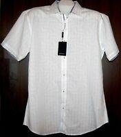 Bugatchi Men's White Stripes Blue Trim Cotton Shirt Size L Shaped Fit NEW $129