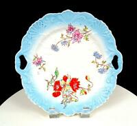 "GERMAN PORCELAIN SCROLL AND SHELL EMBOSSED FLORAL 9 3/4"" CAKE PLATE 1850-1899"
