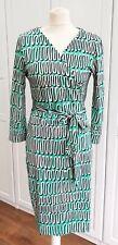 DVF Green Julian Two Wrap Dress Loop Squiggle Print Size US 10