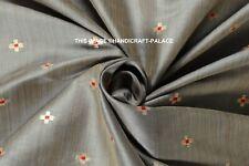 Par 5 Mètre Gris Taffetas Soie Naturel Cercle Couleur Rideau,Rideau Tissu Indien