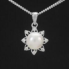 Halsketten und Anhänger im Collier-Stil aus Sterlingsilber mit Perlen für Damen