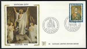 VATICAN EVENT COVER - EASTER 1975 - PICTORIAL CANCEL - ZASO SILK CACHET!