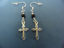 """""""NEW"""" EARRINGS 2-SIDED TIBETAN SILVER CROSS, SS WIRES, BLACK CRYSTAL BEADS, GOTH"""