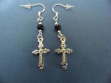 Black Beads Buy any 2=Free Ship Tibetan Silver Cross Earrings, Ss Wires, Pretty