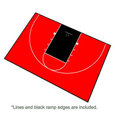 44ft x 29ft Outdoor Basketball Half Court Kit-Lines and Edges Includ-Red/Black