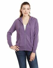 Women's 100% Cashmere Zip Front Drawstring Hoodie Cardigan Sweater