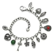 """Ladies Chisel Stainless Steel Synthetic Jade Red Glass Charm Bracelet 7"""" + 2""""Ext"""