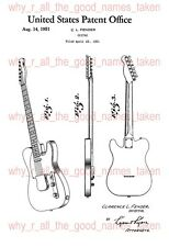 U.S. PATENT : 1951 FENDER TELECASTER Electric Guitar - A4 Printed Repro Art