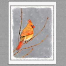 6 Christmas Cards Female Cardinal on Branch Wild Bird Art