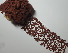 1M Felt Brown Ribbon Flowers, Daisies, Leaves for Scrapbooking & Card Making