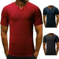 Men's blouse t-shirt slim fit tops muscle tee short sleeve casual t shirts solid