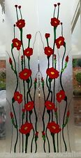 POPPY WINDOW DOOR CLING DECAL STAINED GLASS EFFECT FLEXIBLE FILM DECORATION