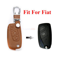 3 Button Brown Remote Fob Bag Holder PU Leather Car Key Cover Case For Fiat 500