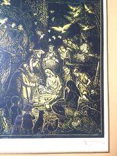 Gravure originale (1927) sur bois signé Gabriel BELOT représentant la Nativité