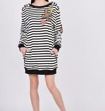 Just Cavalli Multi-Color Striped Embellished Women Jumper Sweater Dress RRP £375