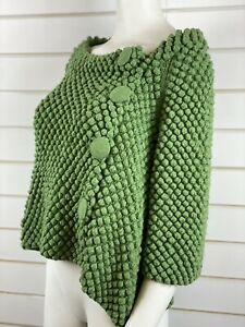 ANN LOUISE ROSWALD Lambswool Chunky Knit Button Up Cardigan Top Size 2