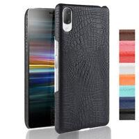 Crocodile Skin Leather Back Ultra Slim Hard Case Cover For Sony Xperia L3
