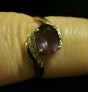 9 ct Gold Dress Ring set with Amethyst & Diamonds Size T / U