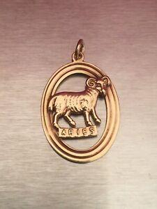 Vintage 9ct Gold Aries The Ram Zodiac Horoscope Pendant Charm Fully Hallmarked.