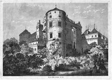 Stuttgart, altes Schloss, großer Holzstich von 1871