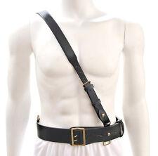 "Sam Browne Belt with Shoulder Strap Black Leather WW1 will fit 42""- 45"""