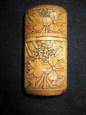 ancien pyrogène boite d'allumettes bois sculpté souvenir Lugano début XX ème