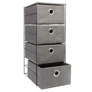 4 Drawer Fabric Chest of Drawer Bedroom/Bathroom Cabinet Storage Unit - Grey