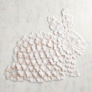 Pier 1 Imports Bunny Petals Placemat Ivory White Rabbit Spring New