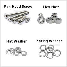 8#-32,10#-24,10#-32 Phillips Pan Head Machine Screw Nut Flat/Spring Washer A2 SS