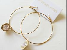 Michael Kors Goldtone Crystal Charm Hoop Earrings Mkj1962710 MKJ1962