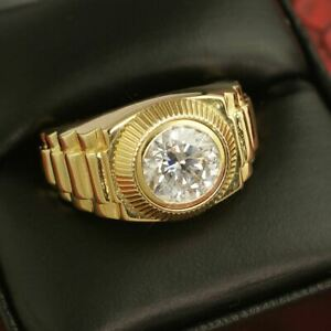 3.00 Carat Certified Moissanite Presidenitial Style Majesty Mens Gold Ring