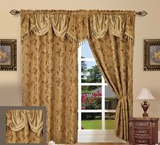 """Jacquard Curtain Panel Set with Attached Valance 55"""" X 84 inch (Set of 2), Gold"""