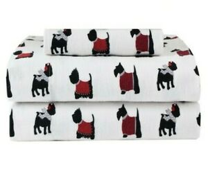 Deep-Pocket Winter Nights 100% Cotton Flannel Sheet Set, Warm Dogs Puppies, TWIN