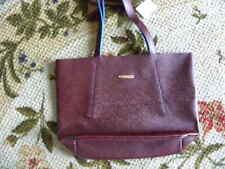 """Oscar de la renta Large burgundy Blue Inside Fashion Tote Bag 13x18"""" New W/Tag"""