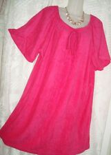 TERRY CLOTH HOT PINK, HOUSE DRESS,SUN DRESS GATHERED SCOOP NECKLINE-PLUS 3X- #31